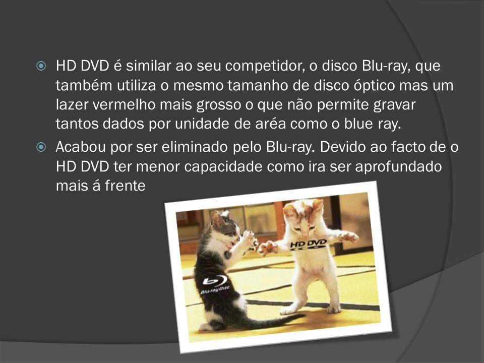 HD DVD é similar ao seu competidor, o disco Blu-ray, que também utiliza o mesmo tamanho de disco óptico mas um lazer vermelho mais grosso o que não pe