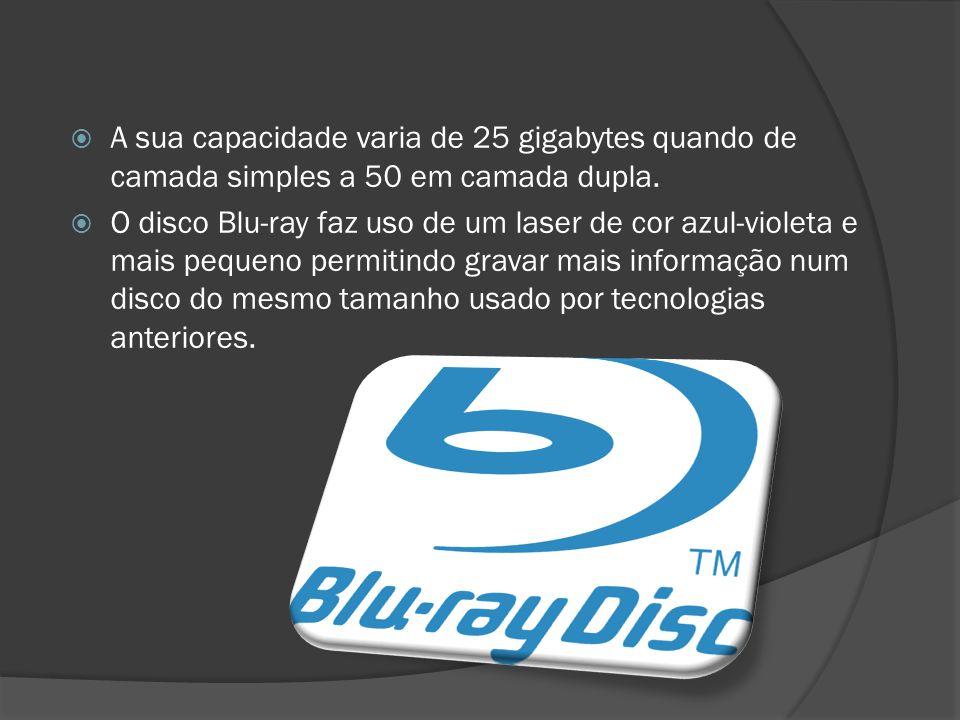 A sua capacidade varia de 25 gigabytes quando de camada simples a 50 em camada dupla. O disco Blu-ray faz uso de um laser de cor azul-violeta e mais p