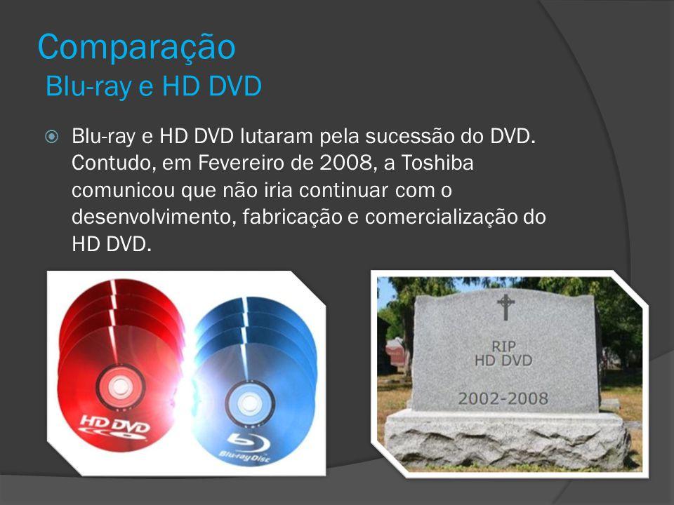 Comparação Blu-ray e HD DVD Blu-ray e HD DVD lutaram pela sucessão do DVD. Contudo, em Fevereiro de 2008, a Toshiba comunicou que não iria continuar c