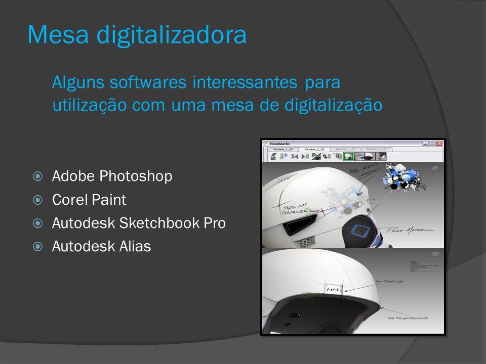 Mesa digitalizadora Alguns softwares interessantes para utilização com uma mesa de digitalização Adobe Photoshop Corel Paint Autodesk Sketchbook Pro A