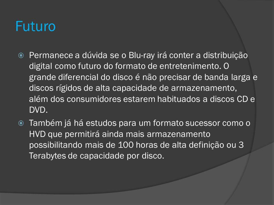 Futuro Permanece a dúvida se o Blu-ray irá conter a distribuição digital como futuro do formato de entretenimento. O grande diferencial do disco é não