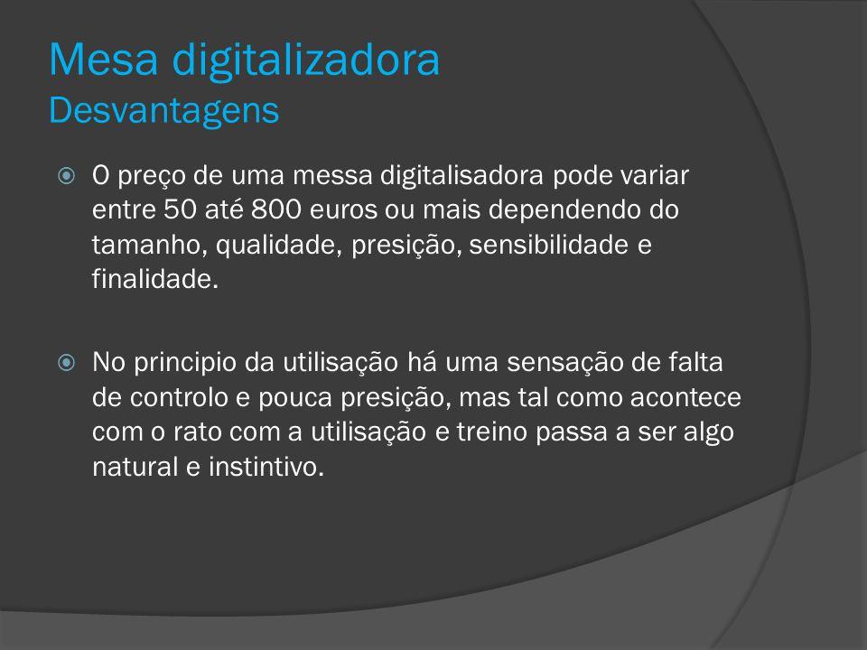 Mesa digitalizadora Desvantagens O preço de uma messa digitalisadora pode variar entre 50 até 800 euros ou mais dependendo do tamanho, qualidade, pres