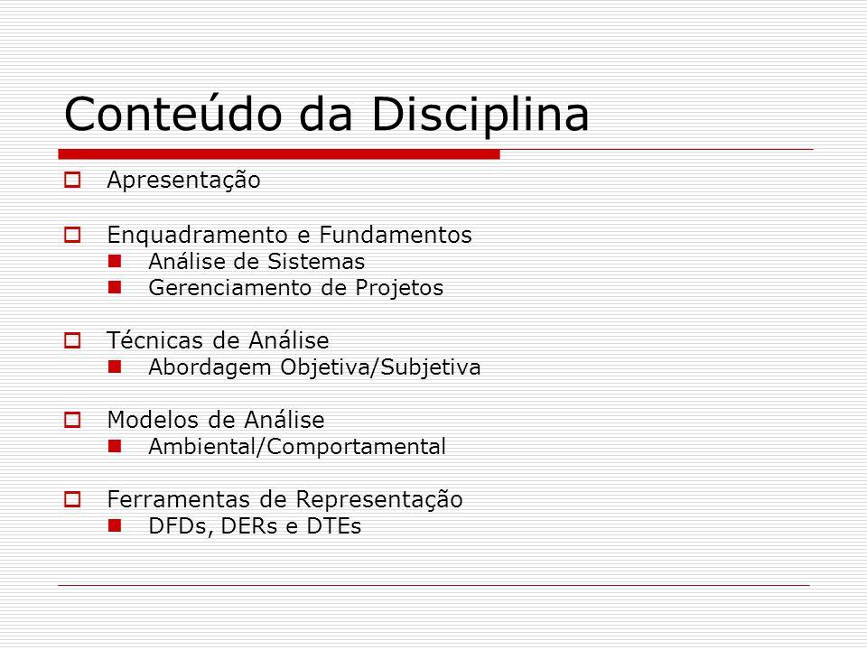 Conteúdo da Disciplina Apresentação Enquadramento e Fundamentos Análise de Sistemas Gerenciamento de Projetos Técnicas de Análise Abordagem Objetiva/S