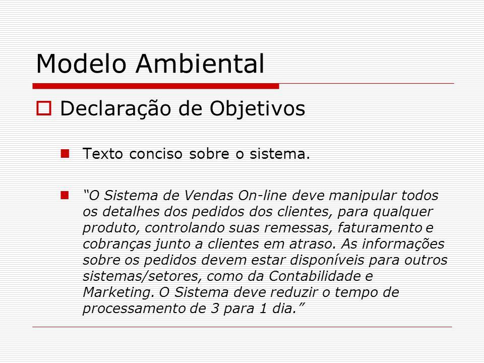 Modelo Ambiental Declaração de Objetivos Texto conciso sobre o sistema. O Sistema de Vendas On-line deve manipular todos os detalhes dos pedidos dos c