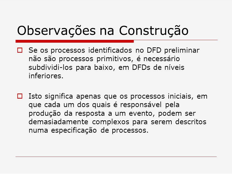 Observações na Construção Se os processos identificados no DFD preliminar não são processos primitivos, é necessário subdividi-los para baixo, em DFDs