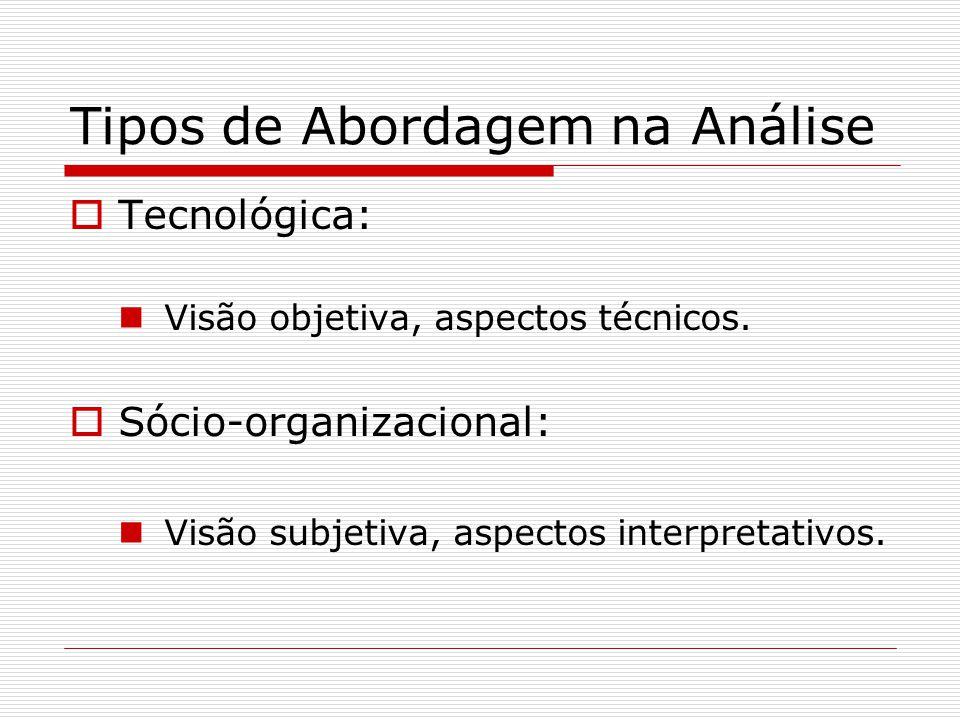 Tipos de Abordagem na Análise Tecnológica: Visão objetiva, aspectos técnicos. Sócio-organizacional: Visão subjetiva, aspectos interpretativos.