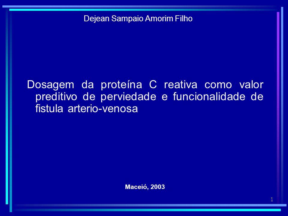 2 Hipótese A Proteína C Reativa está elevada nos casos de oclusão ou mau funcionamento da fístula artério- venosa.