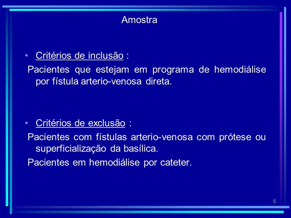 6 Amostra Critérios de inclusão : Pacientes que estejam em programa de hemodiálise por fístula arterio-venosa direta.
