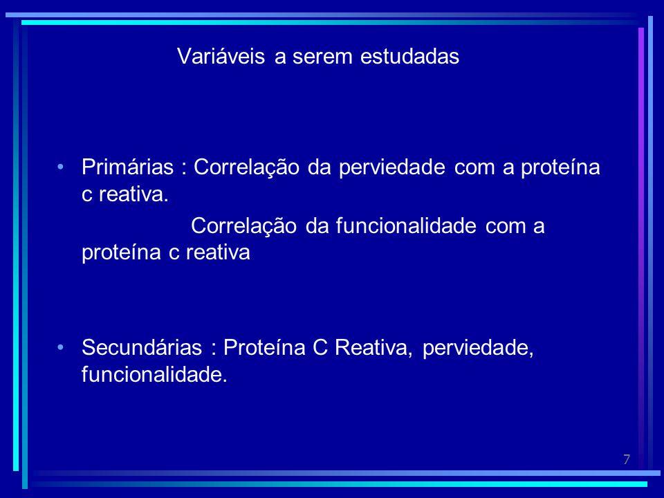 7 Variáveis a serem estudadas Primárias : Correlação da perviedade com a proteína c reativa.