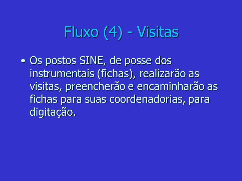 Fluxo (4) - Visitas Os postos SINE, de posse dos instrumentais (fichas), realizarão as visitas, preencherão e encaminharão as fichas para suas coorden