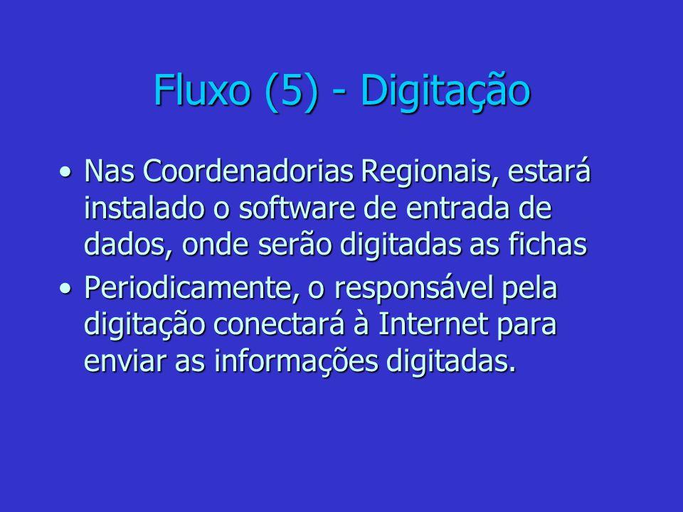 Fluxo (5) - Digitação Nas Coordenadorias Regionais, estará instalado o software de entrada de dados, onde serão digitadas as fichasNas Coordenadorias