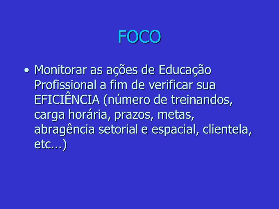 FOCO Monitorar as ações de Educação Profissional a fim de verificar sua EFICIÊNCIA (número de treinandos, carga horária, prazos, metas, abragência set