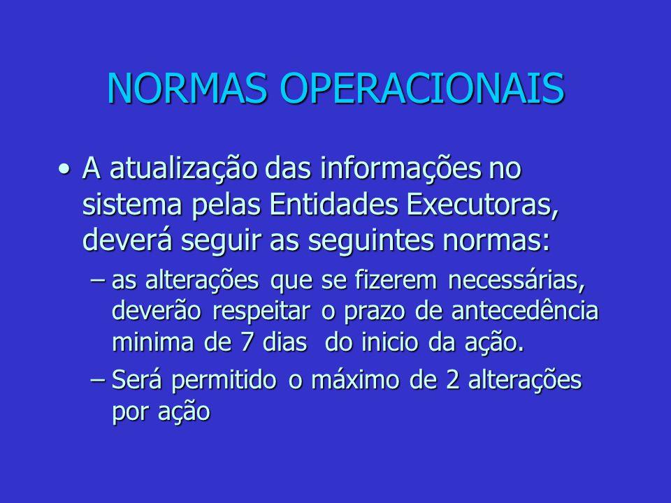 NORMAS OPERACIONAIS A atualização das informações no sistema pelas Entidades Executoras, deverá seguir as seguintes normas:A atualização das informaçõ