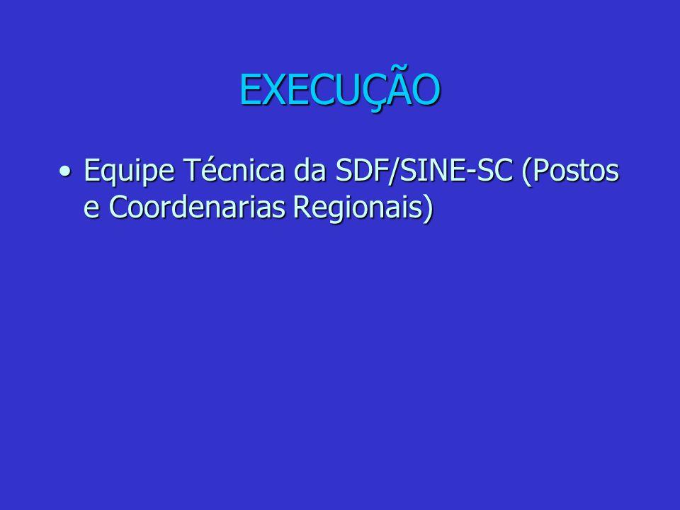 EXECUÇÃO Equipe Técnica da SDF/SINE-SC (Postos e Coordenarias Regionais)Equipe Técnica da SDF/SINE-SC (Postos e Coordenarias Regionais)