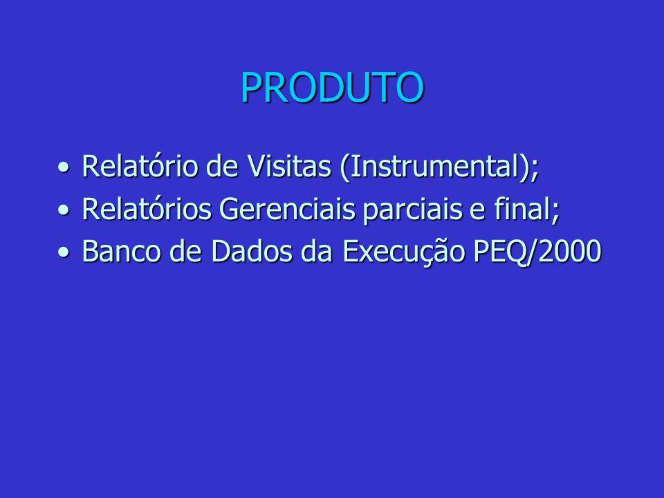 PRODUTO Relatório de Visitas (Instrumental);Relatório de Visitas (Instrumental); Relatórios Gerenciais parciais e final;Relatórios Gerenciais parciais e final; Banco de Dados da Execução PEQ/2000Banco de Dados da Execução PEQ/2000