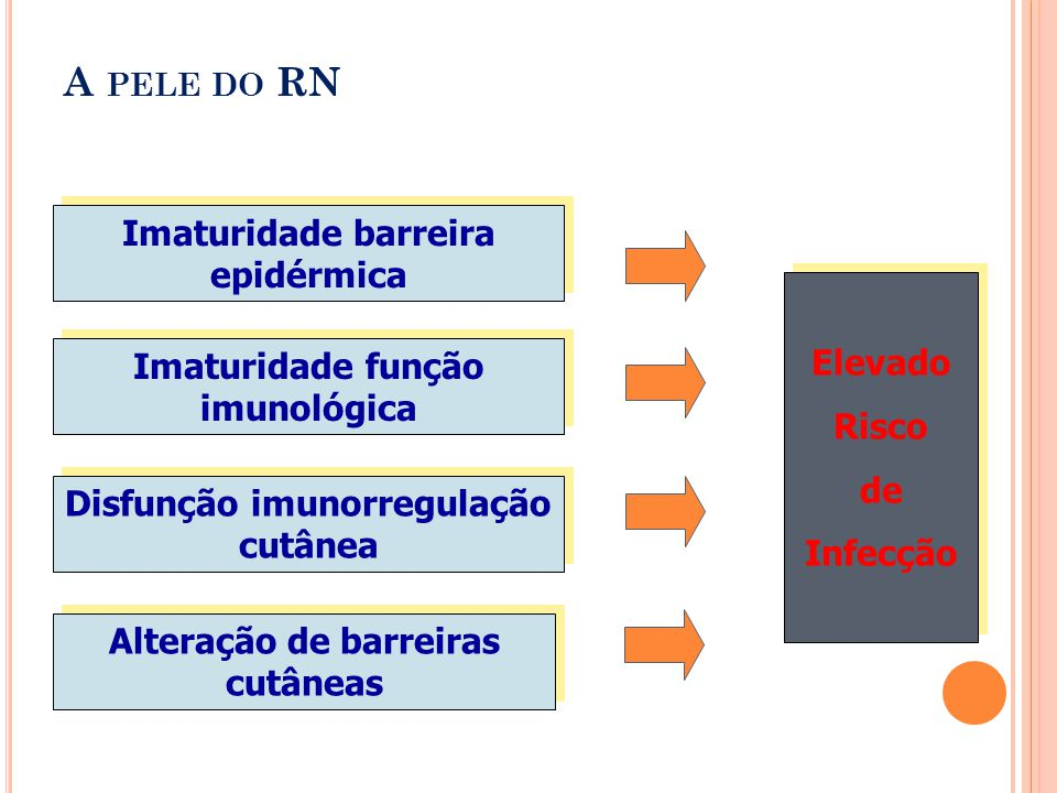A PELE DO RN Imaturidade barreira epidérmica Imaturidade função imunológica Disfunção imunorregulação cutânea Alteração de barreiras cutâneas Elevado Risco de Infecção Elevado Risco de Infecção