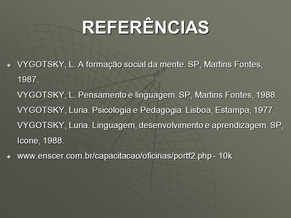 REFERÊNCIAS VYGOTSKY, L. A formação social da mente. SP, Martins Fontes, 1987. VYGOTSKY, L. Pensamento e linguagem. SP, Martins Fontes, 1988. VYGOTSKY