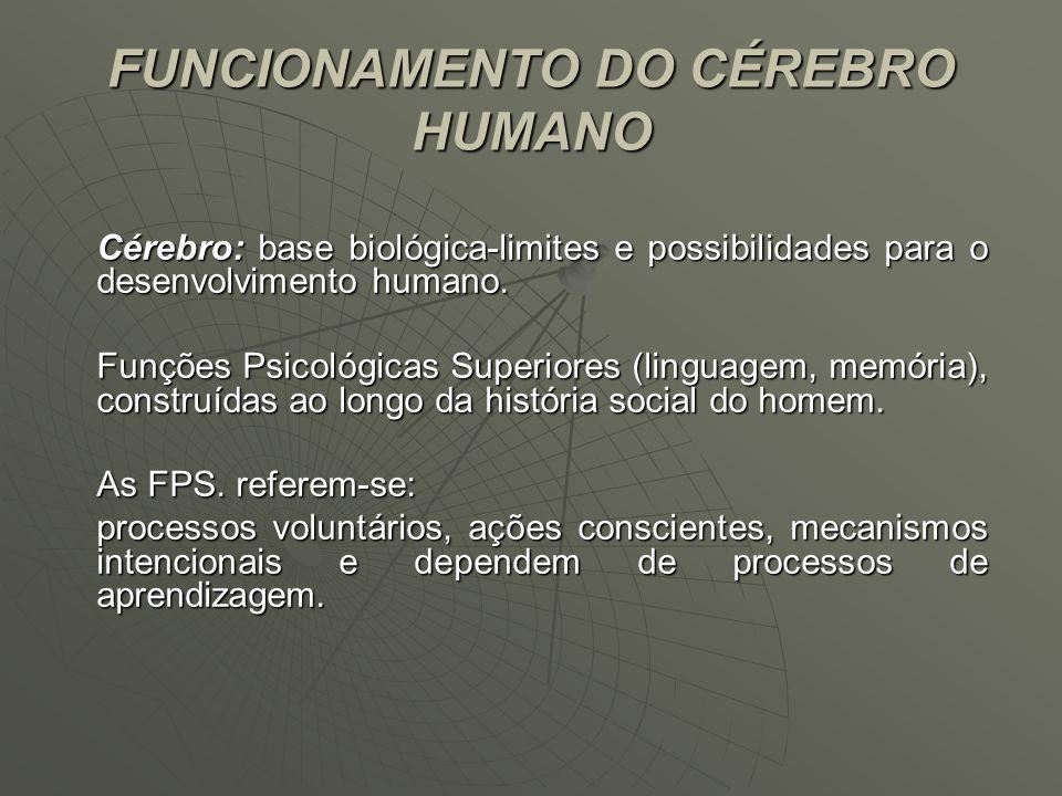 FUNCIONAMENTO DO CÉREBRO HUMANO Cérebro: base biológica-limites e possibilidades para o desenvolvimento humano. Funções Psicológicas Superiores (lingu