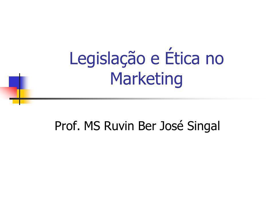 Legislação e Ética no Marketing Prof. MS Ruvin Ber José Singal
