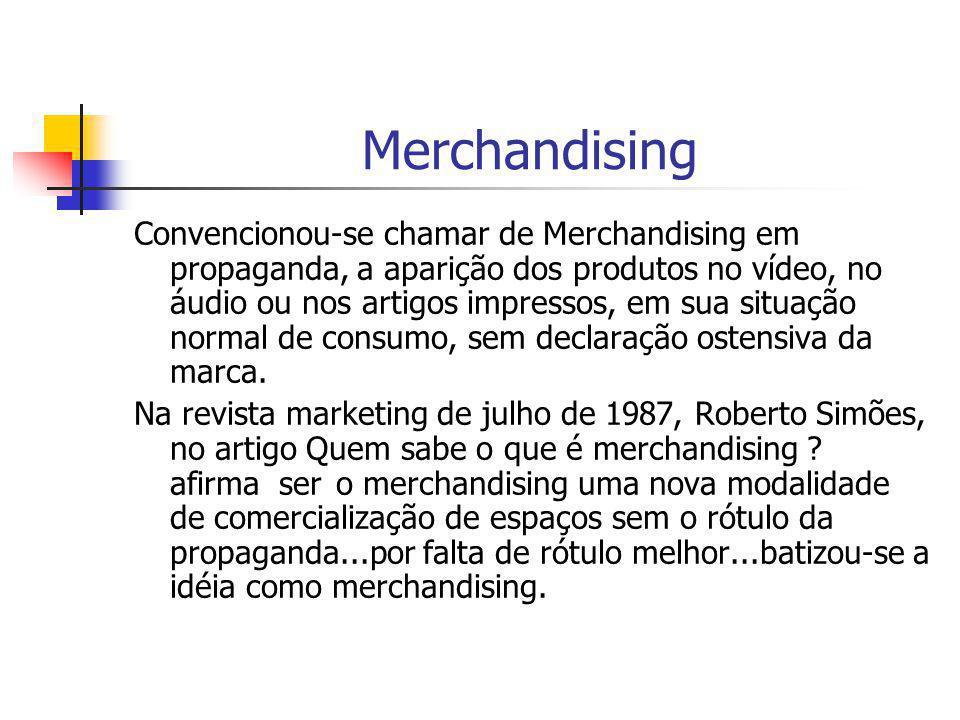 Merchandising Convencionou-se chamar de Merchandising em propaganda, a aparição dos produtos no vídeo, no áudio ou nos artigos impressos, em sua situa