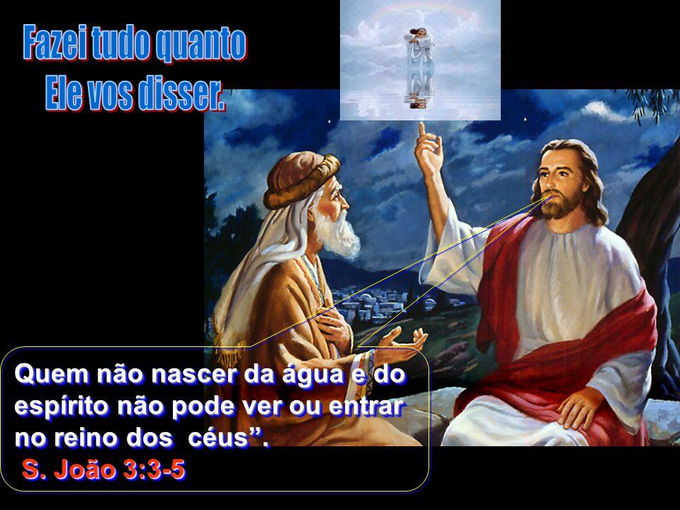 Quem não nascer da água e do espírito não pode ver ou entrar no reino dos céus. S. João 3:3-5 S. João 3:3-5 Quem não nascer da água e do espírito não