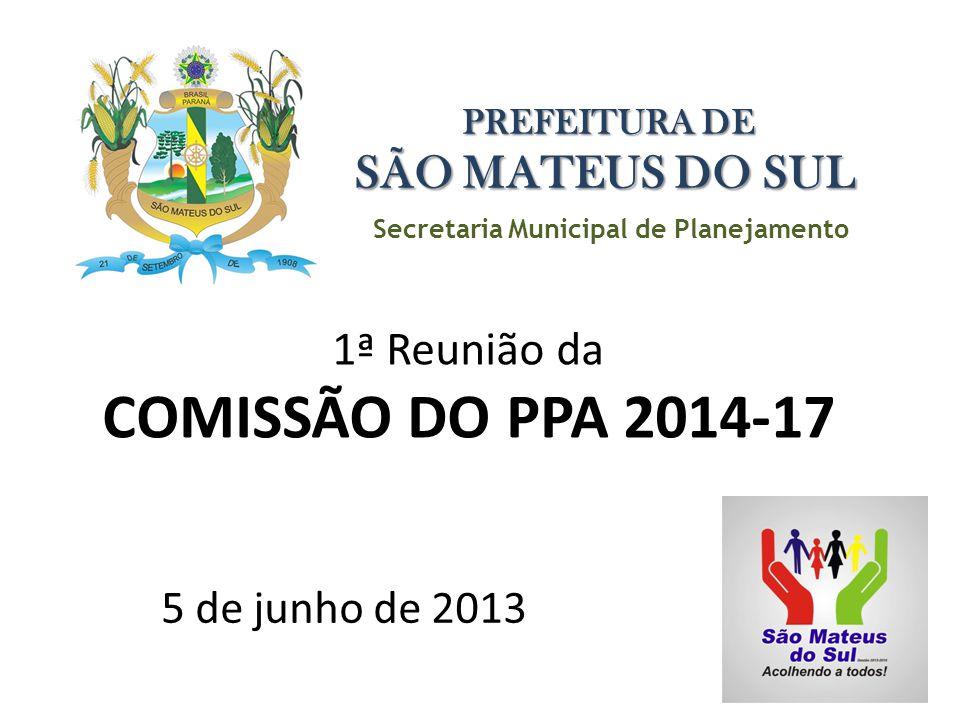Secretaria Municipal de Planejamento PREFEITURA DE SÃO MATEUS DO SUL 1ª Reunião da COMISSÃO DO PPA 2014-17 5 de junho de 2013