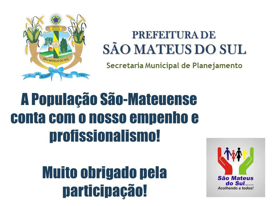A População São-Mateuense conta com o nosso empenho e profissionalismo! Muito obrigado pela participação! Secretaria Municipal de Planejamento PREFEIT