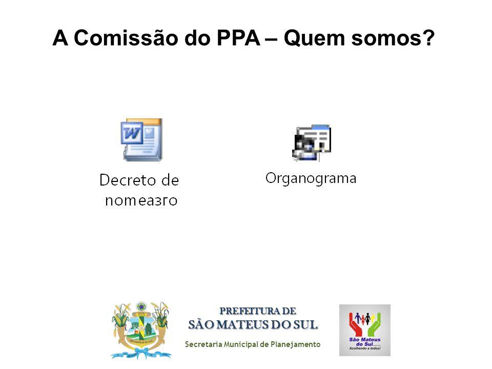 Secretaria Municipal de Planejamento PREFEITURA DE SÃO MATEUS DO SUL A Comissão do PPA – Quem somos?