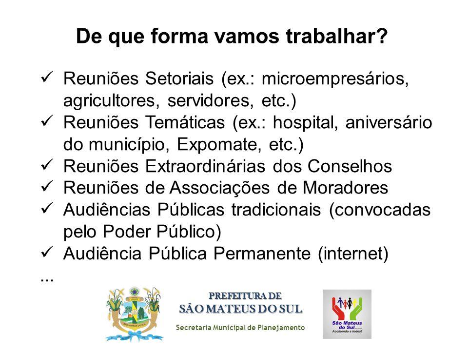 Secretaria Municipal de Planejamento PREFEITURA DE SÃO MATEUS DO SUL De que forma vamos trabalhar? Reuniões Setoriais (ex.: microempresários, agricult