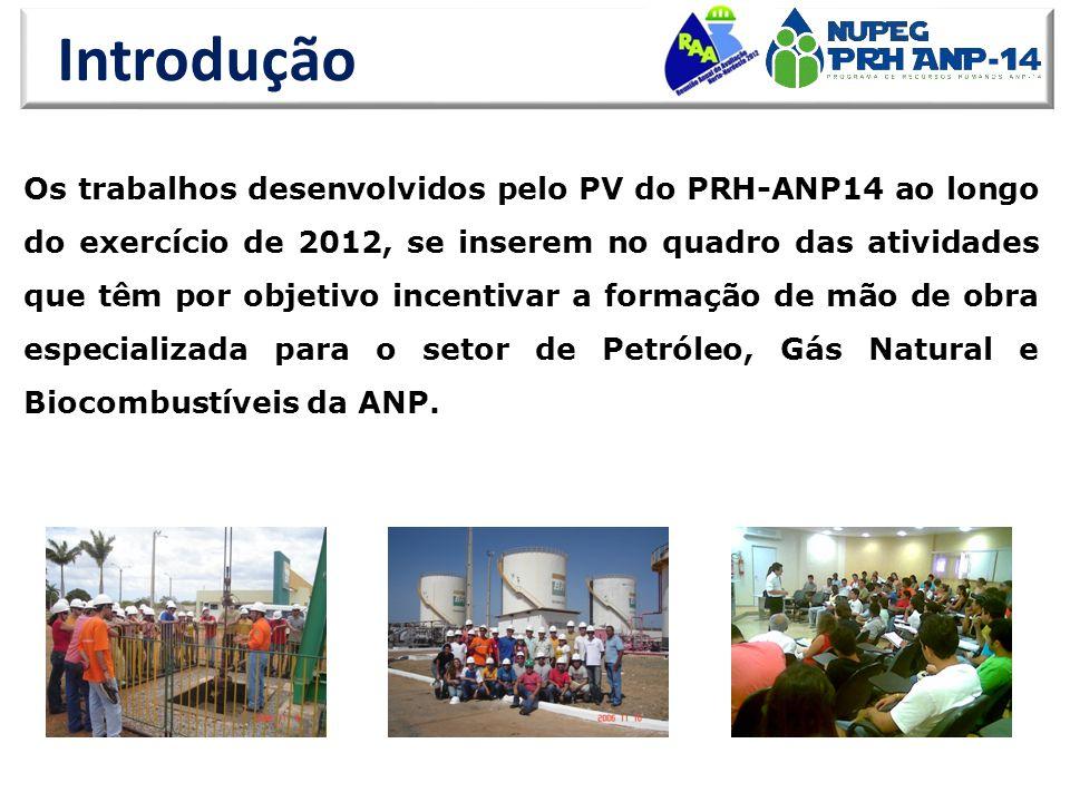 Introdução Os trabalhos desenvolvidos pelo PV do PRH-ANP14 ao longo do exercício de 2012, se inserem no quadro das atividades que têm por objetivo incentivar a formação de mão de obra especializada para o setor de Petróleo, Gás Natural e Biocombustíveis da ANP.