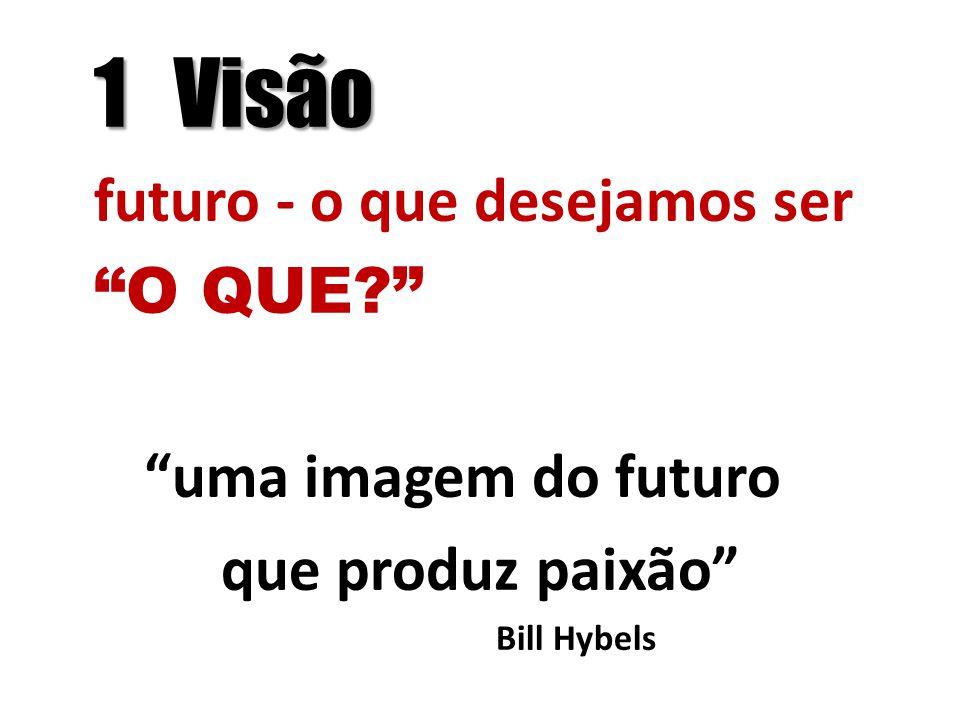 1 Visão futuro - o que desejamos ser O QUE? uma imagem do futuro que produz paixão Bill Hybels