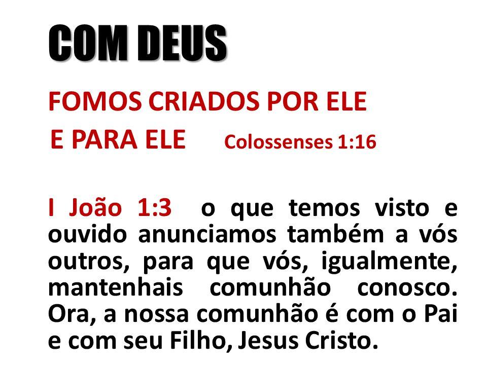 COM DEUS FOMOS CRIADOS POR ELE E PARA ELE Colossenses 1:16 I João 1:3 o que temos visto e ouvido anunciamos também a vós outros, para que vós, igualme