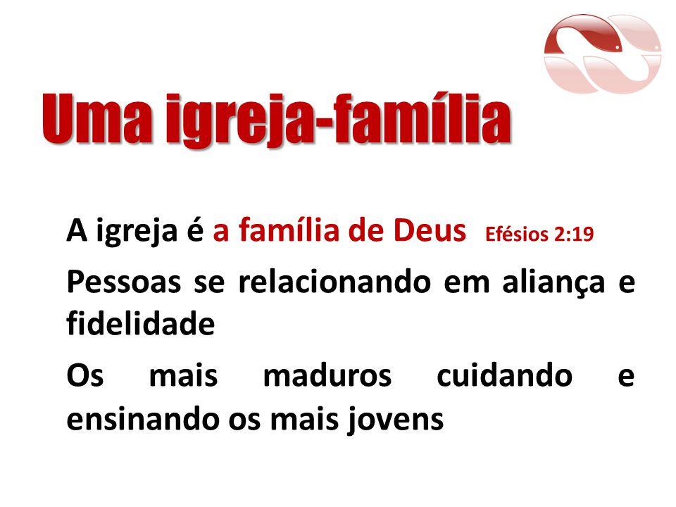 Uma igreja-família A igreja é a família de Deus Efésios 2:19 Pessoas se relacionando em aliança e fidelidade Os mais maduros cuidando e ensinando os m