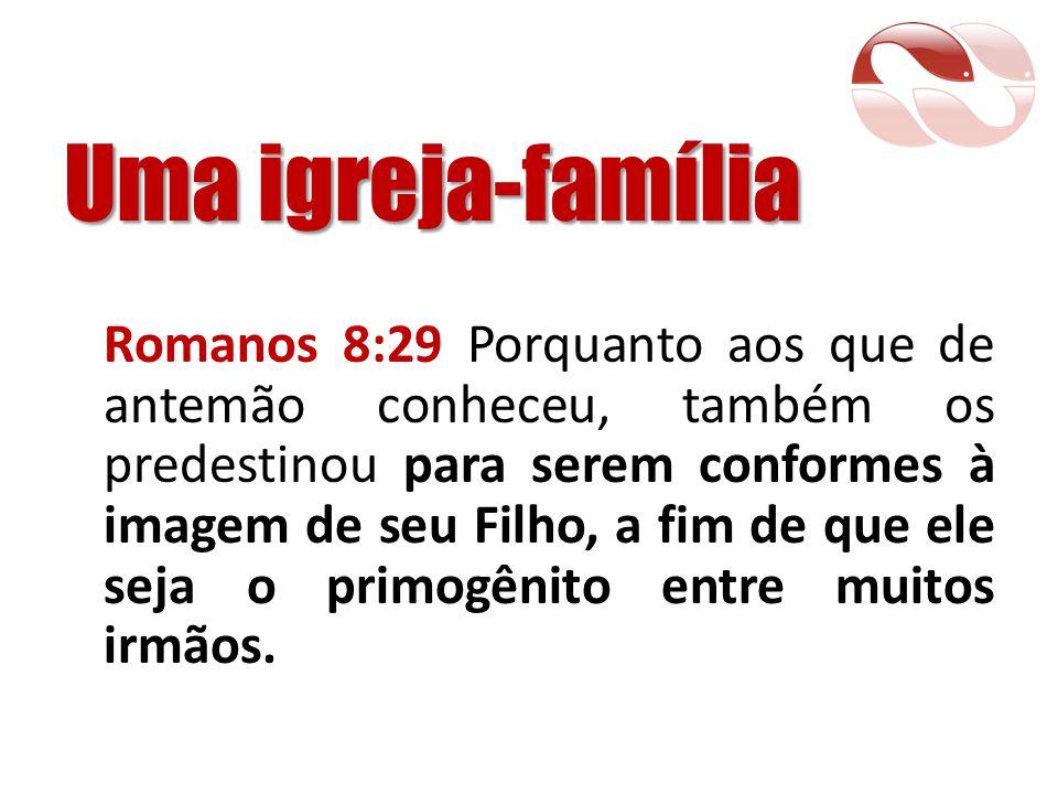 Uma igreja-família Romanos 8:29 Porquanto aos que de antemão conheceu, também os predestinou para serem conformes à imagem de seu Filho, a fim de que
