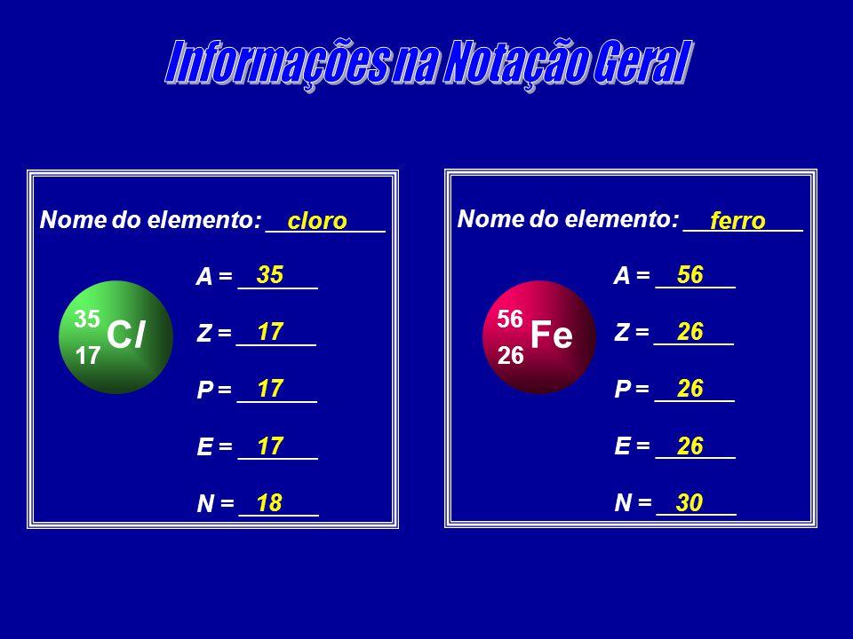 ClCl 17 35 Nome do elemento: _________ A = ______ Z = ______ P = ______ E = ______ N = ______ cloro 35 17 18 Fe 26 56 Nome do elemento: _________ A =