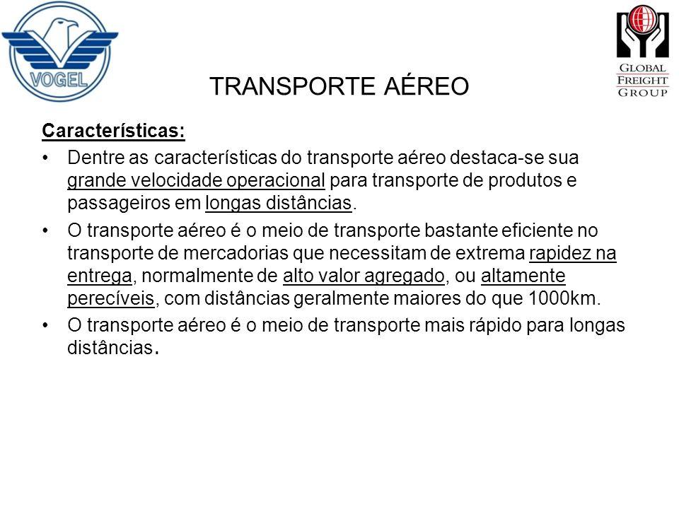 Características: Dentre as características do transporte aéreo destaca-se sua grande velocidade operacional para transporte de produtos e passageiros