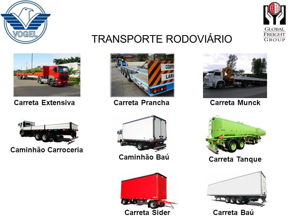 TRANSPORTE RODOVIÁRIO Carreta Extensiva Carreta Prancha Carreta Munck Caminhão Carroceria Caminhão Baú Carreta Tanque Carreta Sider Carreta Baú