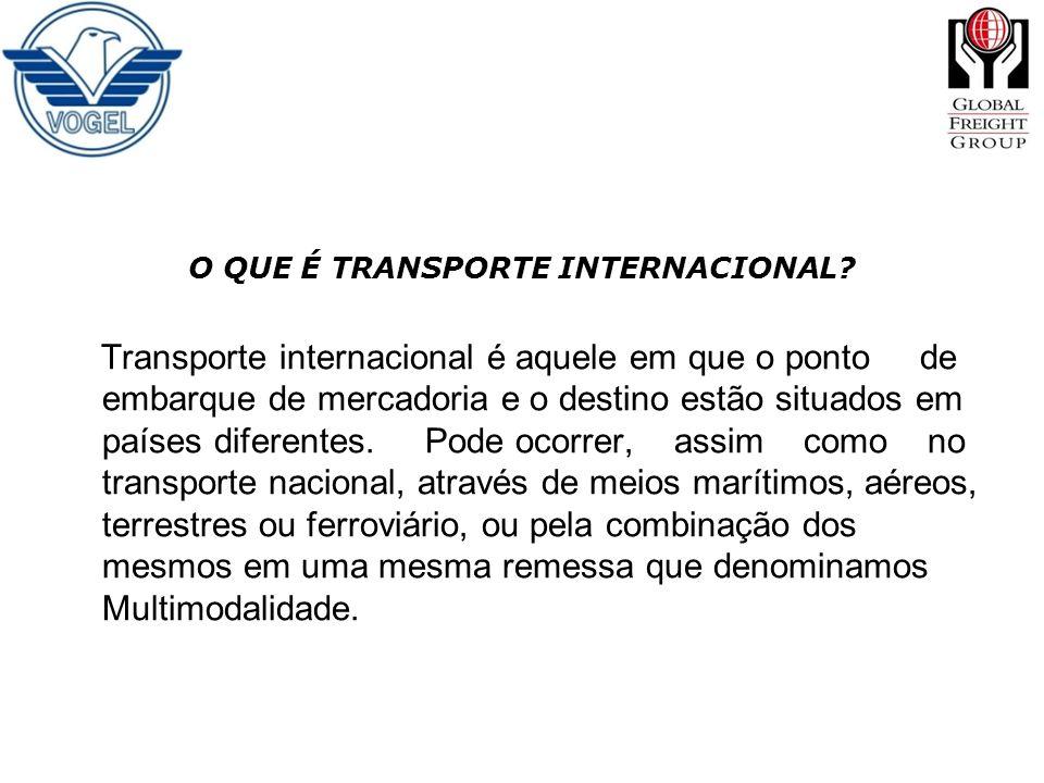 O QUE É TRANSPORTE INTERNACIONAL? Transporte internacional é aquele em que o ponto de embarque de mercadoria e o destino estão situados em países dife