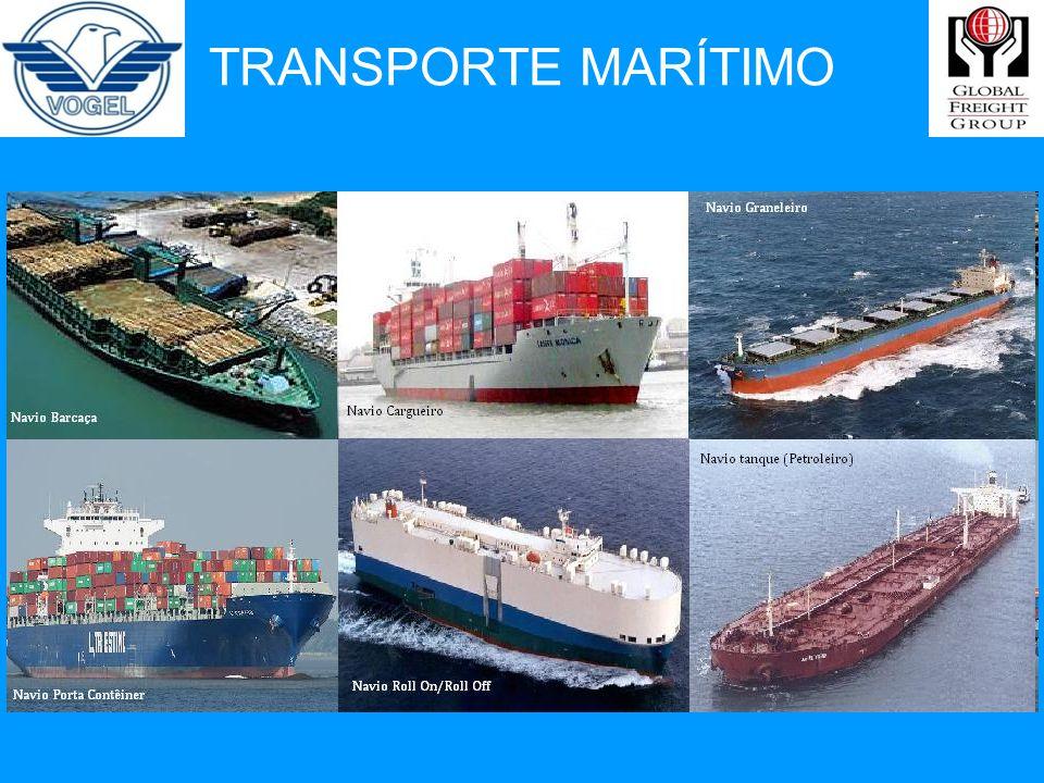 Características: Transporta grandes volumes de carga por viagem A presença das águas oceânicas separando os continentes, impede o uso do modo terrestre nas trocas comerciais.