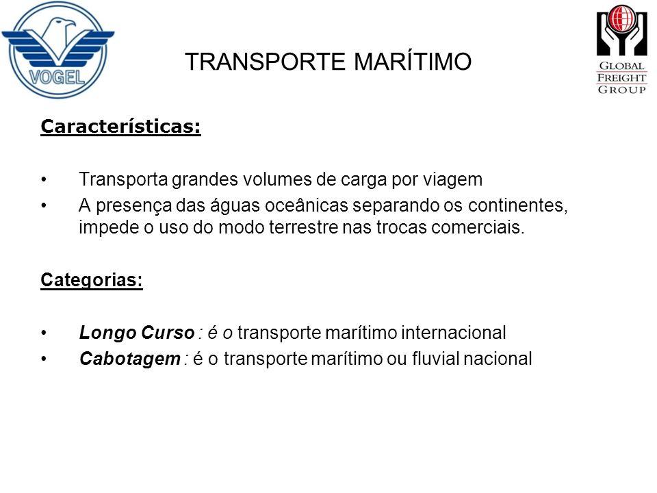 Características: Transporta grandes volumes de carga por viagem A presença das águas oceânicas separando os continentes, impede o uso do modo terrestr