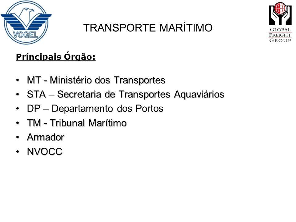 Príncipais Órgão: MT - Ministério dos TransportesMT - Ministério dos Transportes STA – Secretaria de Transportes AquaviáriosSTA – Secretaria de Transp