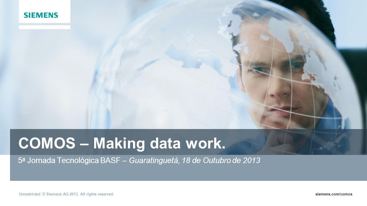 Unrestricted © Siemens AG 2013. All rights reserved.siemens.com/comos COMOS – Making data work. 5 a Jornada Tecnológica BASF – Guaratinguetá, 18 de Ou