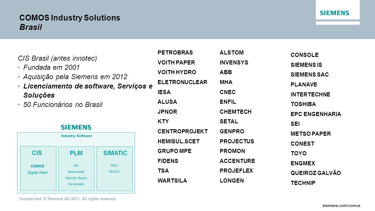 Unrestricted © Siemens AG 2013. All rights reserved. siemens.com/comos COMOS Industry Solutions Brasil CIS Brasil (antes innotec) Fundada em 2001 Aqui