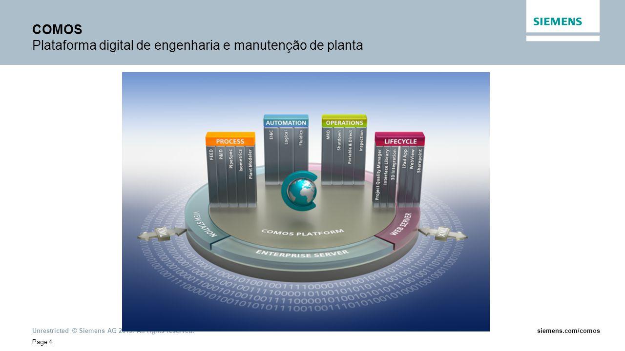 Unrestricted © Siemens AG 2013. All rights reserved. Page 4 siemens.com/comos COMOS Plataforma digital de engenharia e manutenção de planta