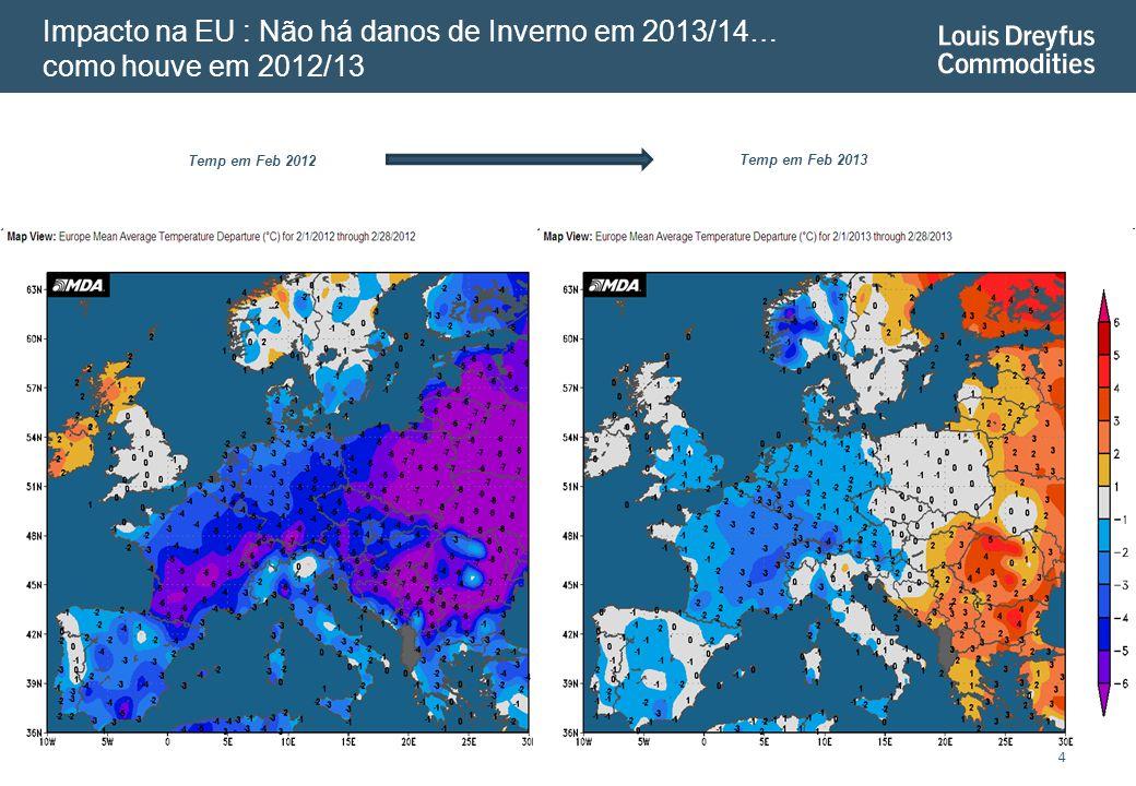 4 Temp em Feb 2012 Impacto na EU : Não há danos de Inverno em 2013/14… como houve em 2012/13 Temp em Feb 2013