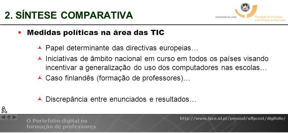 O Portefólio digital na formação de professores http://www.fpce.ul.pt/pessoal/ulfpcost/digifolio/ 2. SÍNTESE COMPARATIVA Medidas políticas na área das