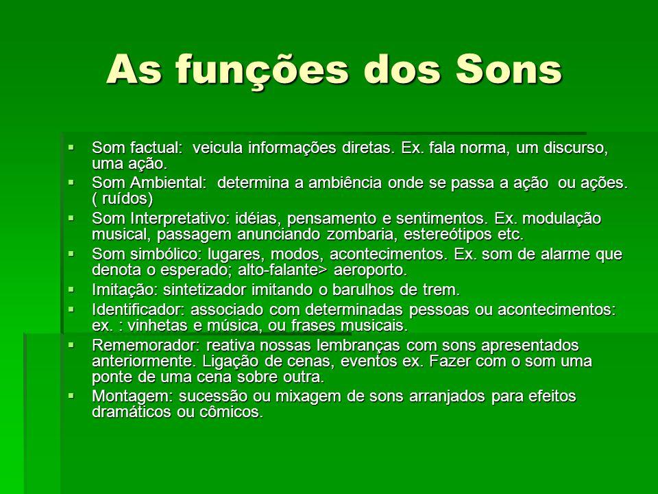As funções dos Sons Som factual: veicula informações diretas. Ex. fala norma, um discurso, uma ação. Som factual: veicula informações diretas. Ex. fal
