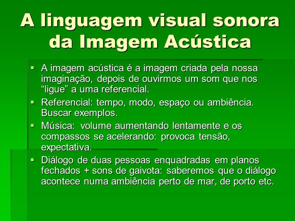 A linguagem visual sonora da Imagem Acústica A imagem acústica é a imagem criada pela nossa imaginação, depois de ouvirmos um som que nos ligue a uma