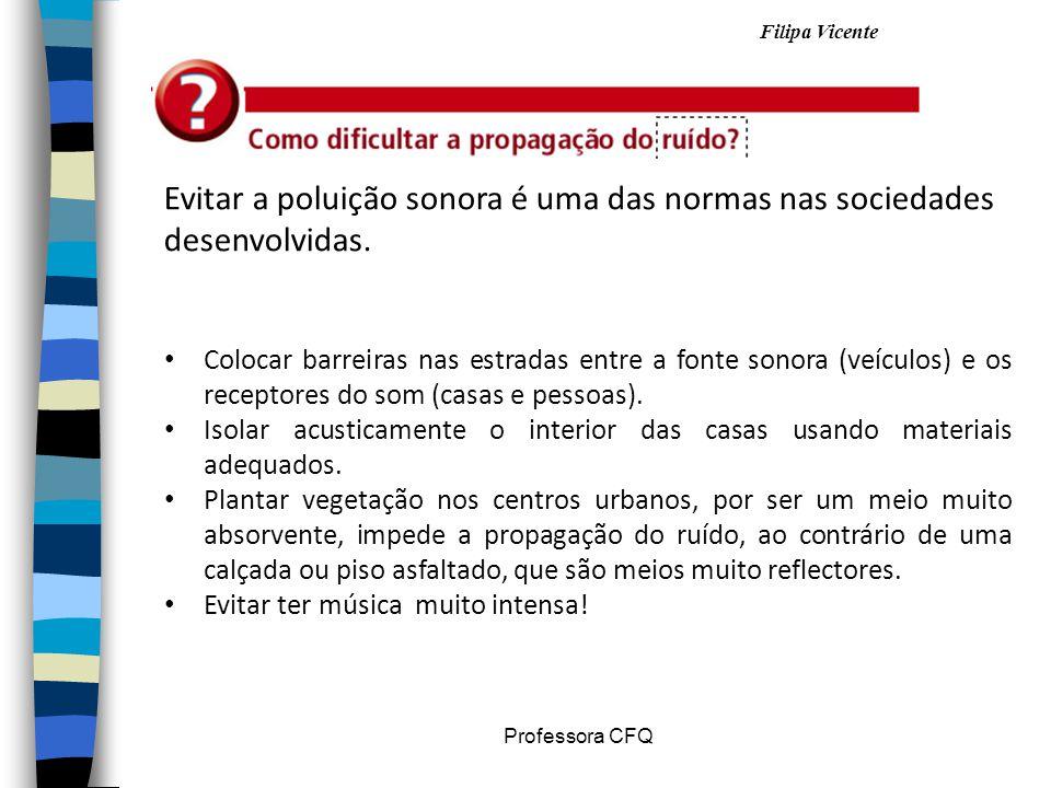 Filipa Vicente Professora CFQ Evitar a poluição sonora é uma das normas nas sociedades desenvolvidas. Colocar barreiras nas estradas entre a fonte son
