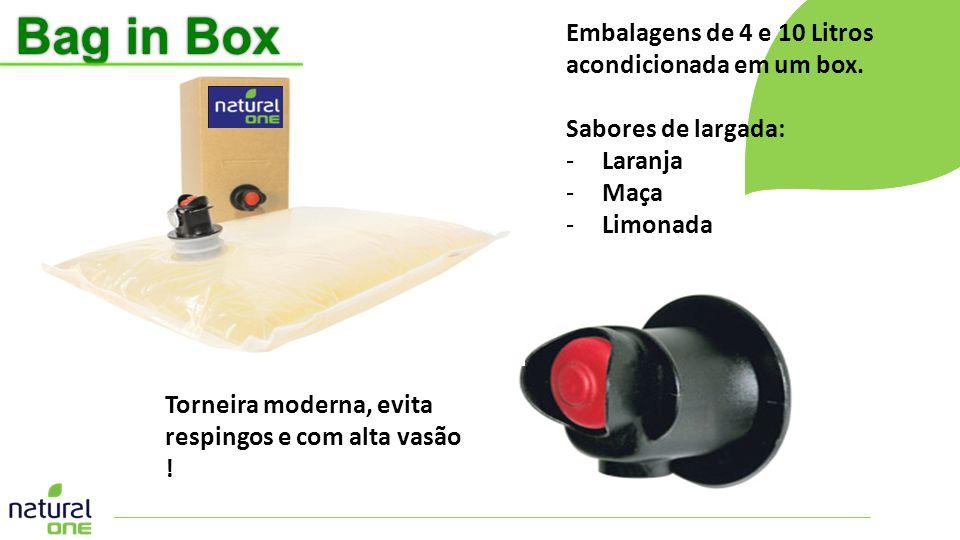 Torneira moderna, evita respingos e com alta vasão ! Embalagens de 4 e 10 Litros acondicionada em um box. Sabores de largada: -Laranja -Maça -Limonada